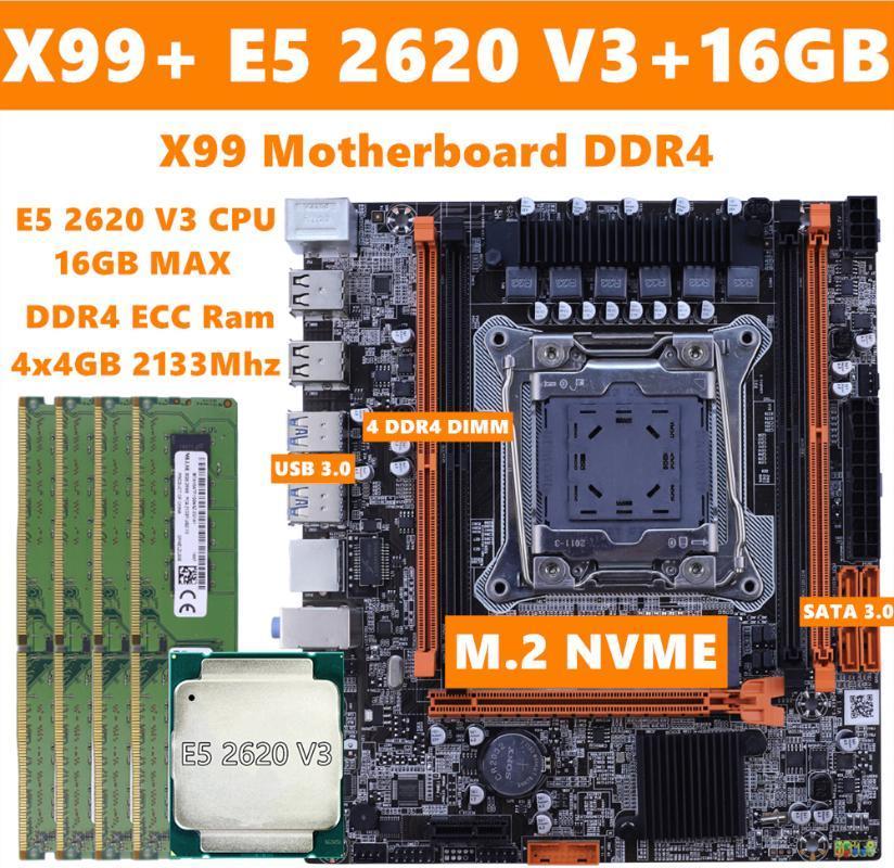 X99 Motherboard Set LGA 2011 3 For Intel E5 2620 V3 CPU 16GB ECC Server RAM Memory 4 Channels M.2 Nvme LGA 2011 V3 Mainboard