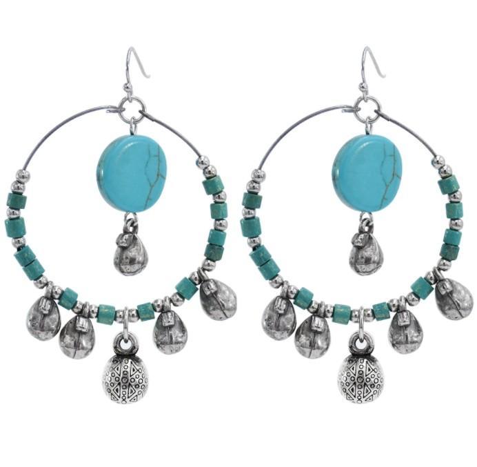 Nouveaux ethniques Bohême Turquoise Pierre Goutte Dangles Boucles d'oreilles pour les femmes Party Vintage Déclaration à la main des bijoux en argent
