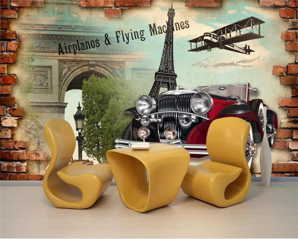 özel boyut 3d fotoğraf kağıdı oturma odası çubuğu duvar Paris eski model araba tuğla duvar resmi kanepe TV zemin duvar kağıdı duvar dokunmamış çıkartması