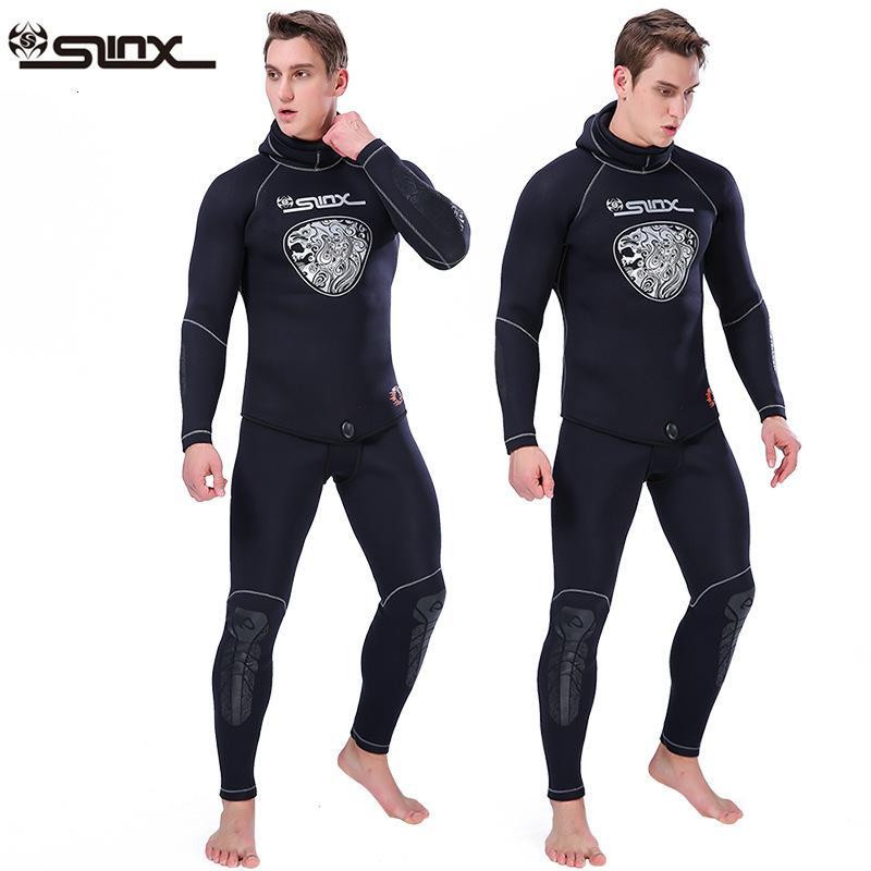 Два взрослых шт 5мм Гидрокостюм куртка штаны с длинным рукавом SCR неопрена Гидрокостюм Hoodie сверху и снизу Мужчины Женщины S-3XL