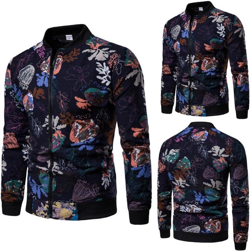 2020 Nouveau Mode Simple Men Plus Size Fashion Imprimé Zipper Pull à manches longues Sweat-shirt Tops Automne SEP25