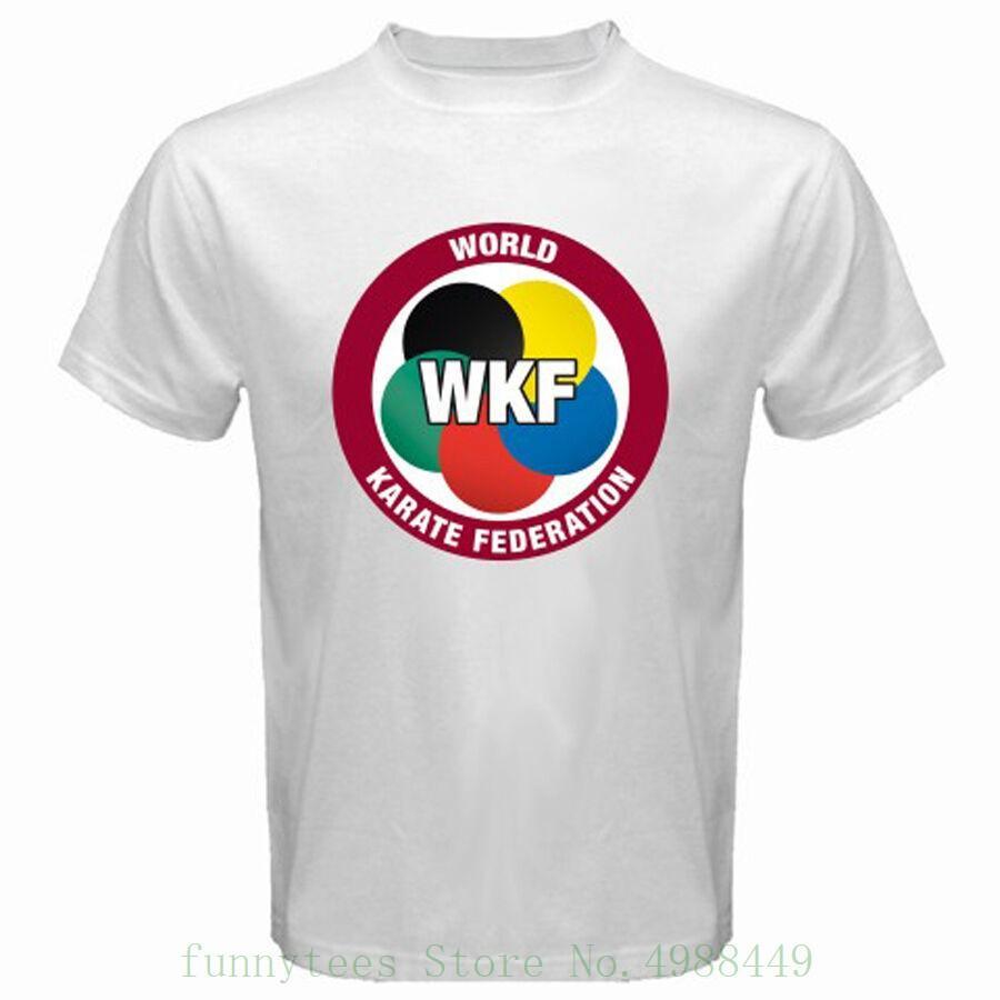 New WKF World Karate Federation Männer weißes T-Shirt Größe S M L XL 2XL 3XL Schwarz Youths Formal Shirts