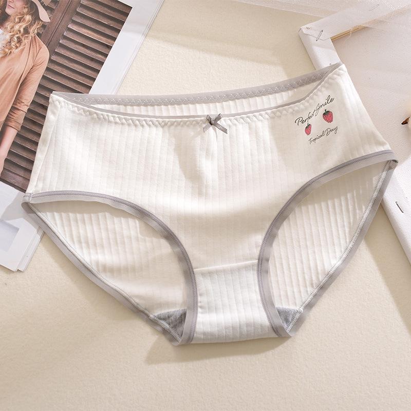 M4Cex Penye pamuk meyve baskı serisi orta bel kızların iç çamaşırı şeffaf kalça kaplı pamuk kasık yüksek elastik breifs kısa ceket