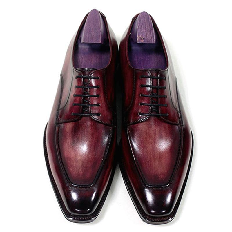 Qualidade Men Dress Shoes Oxfords sapatos feitos à mão Shoes Toe Praça Derby Calf couro genuíno Cor Patina Red Brown