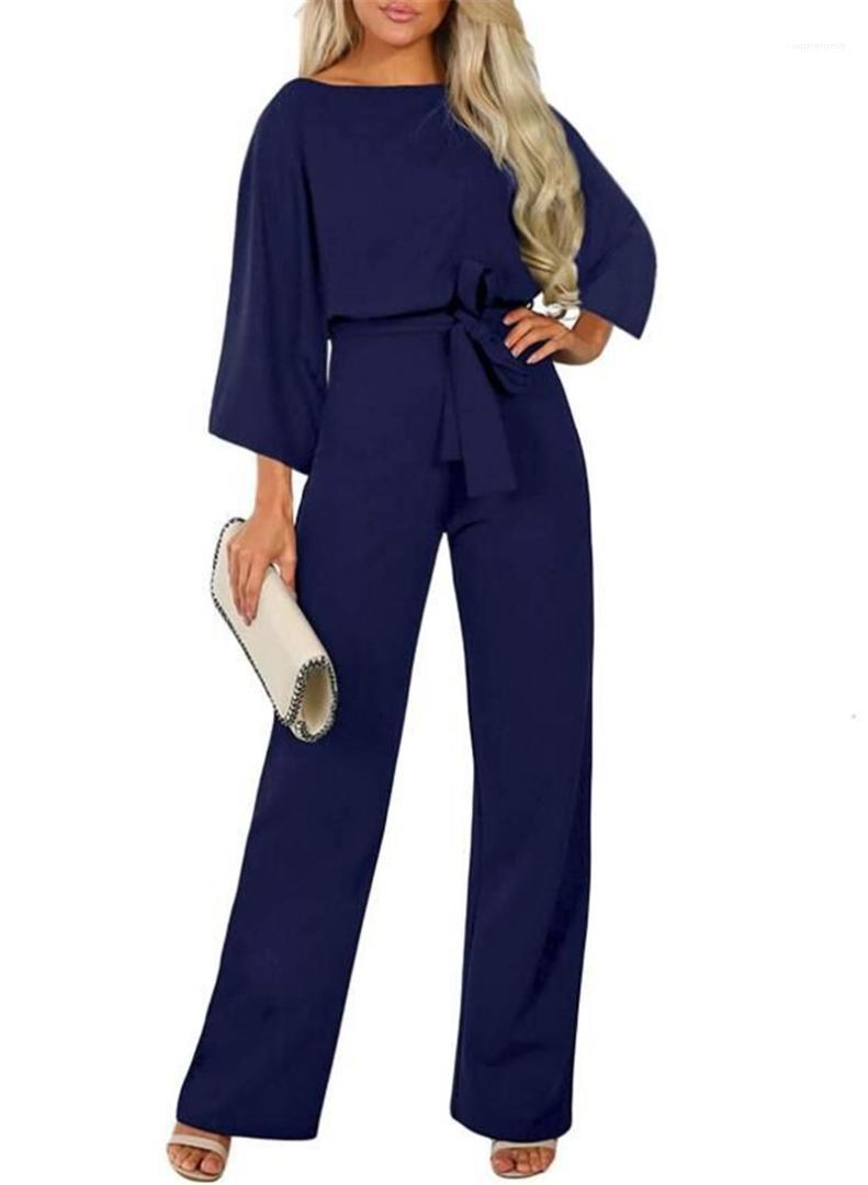 Kol Casual Tulumlar Kadınlar Giyim Kadın Tasarımcı Sashes Tulumlar Moda Gevşek Doğal Renk tulum Mürettebat Boyun Uzun