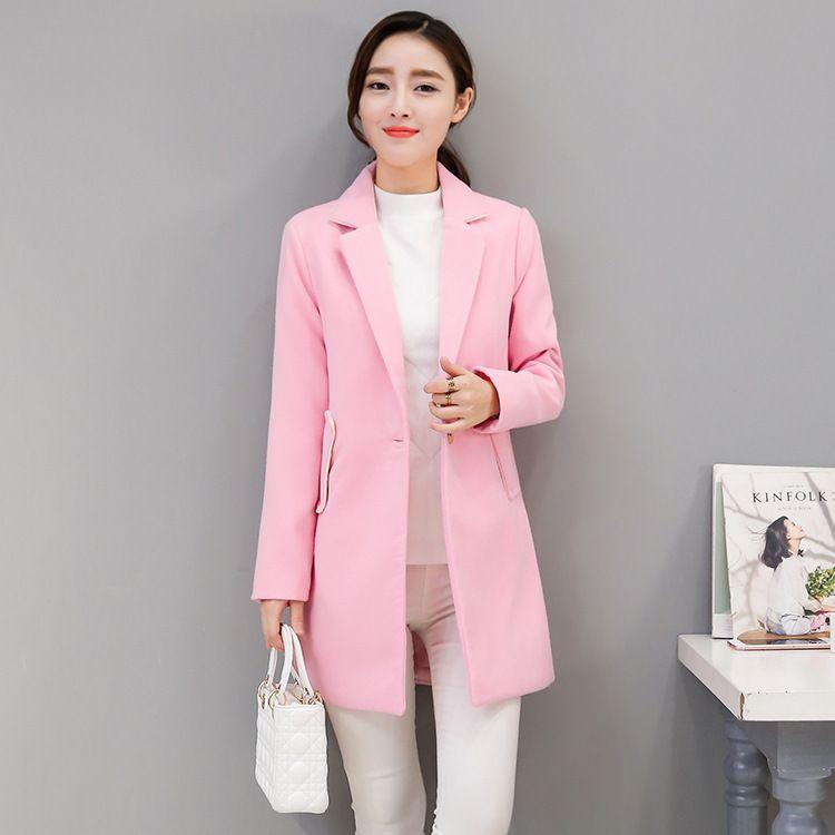 Femmes Mode casual long Cashmer manteau de laine Slim longues Veste femme Poches solides Manteau bouton et veste
