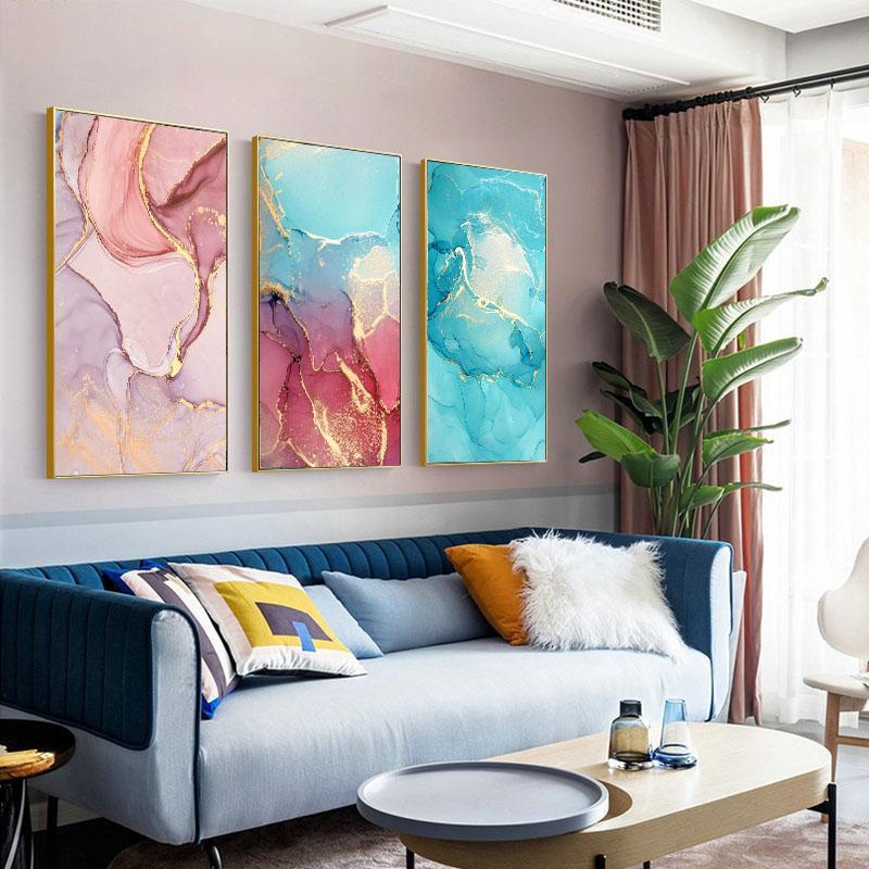 Смесись цвет мраморной вены плакат печать на холсте живопись абстрактная настенная роспись настенная картина картины для гостиной дома украшения дома