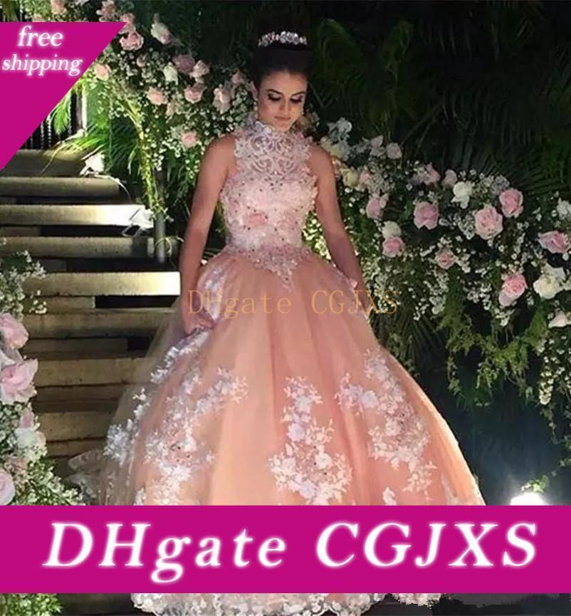 2019 vestidos de quinceañera de cuello alto sin mangas dulce 16 apliques atractivo sin respaldo formal del partido vestido de fiesta de encaje vestidos para novia
