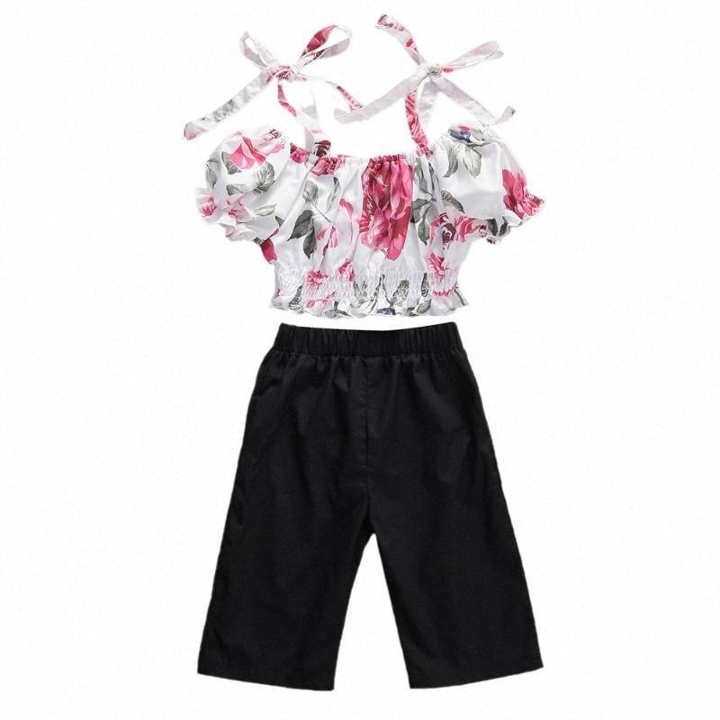 Bebek Kız bebekler Mahsul Üst Gömlek Pantolon Pantolon Çiçek Kıyafetler Giyim Seti 6-24M 58gX #