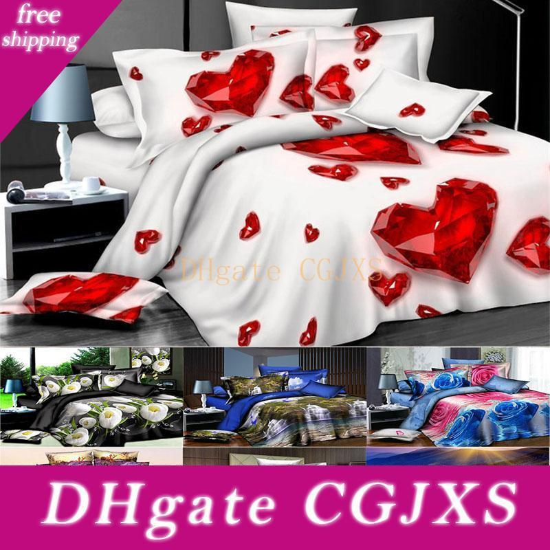 3d Printed Bedding Sets 4pcs /Set Luxury Rose Pattern Duvet Cover Pillowcases Home Bedding Supplies Christmas Gift 27 Style Free Dhl Hh7 -18