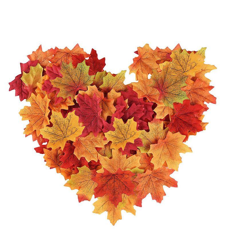 200PCS الاصطناعي محاكاة الديكور الزفاف أوراق وهمية الخريف لتقديم الشكر حزب ديكور