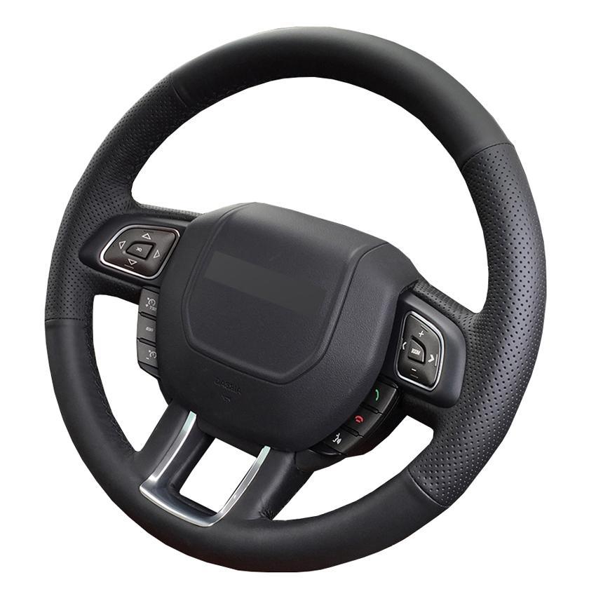 مخيط باليد الأسود بو فو جلدية DIY التوجيهية السيارات تغطية عجلة القيادة لاند روفر رينج روفر إيفوك 2012-2018