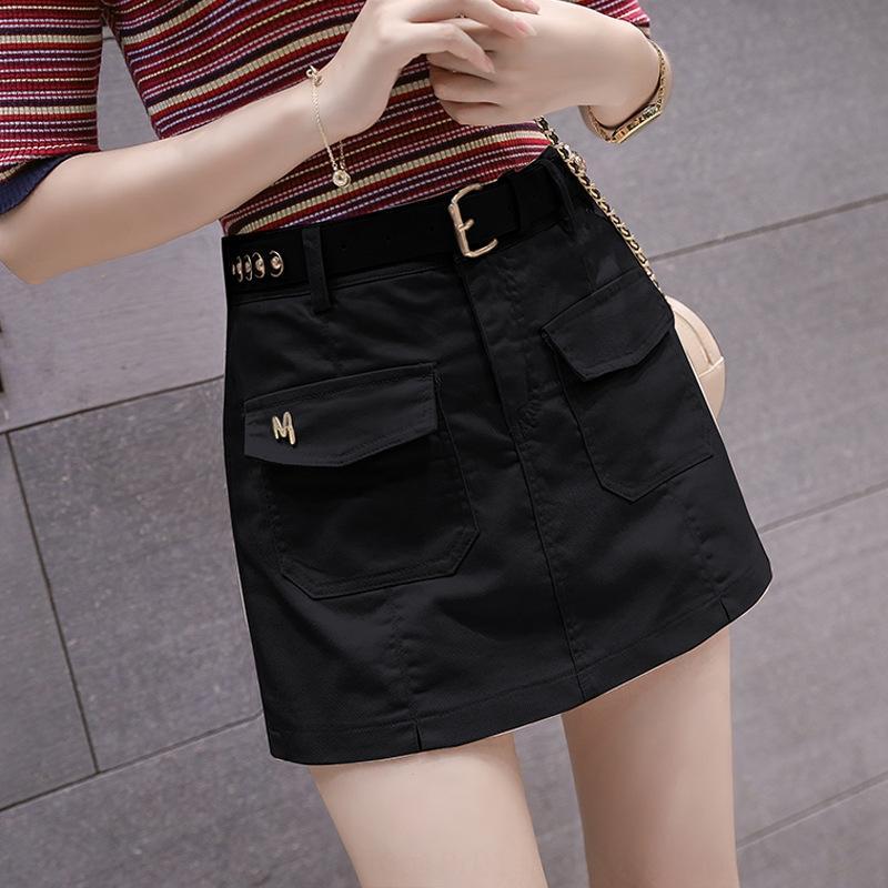 mezclilla corta altura de la cintura en forma de un falso-2020 nueva moda de verano de hip-cubiertas de las mujeres de la falda del delantal de dos piezas de pantalones de la falda Jfw4s
