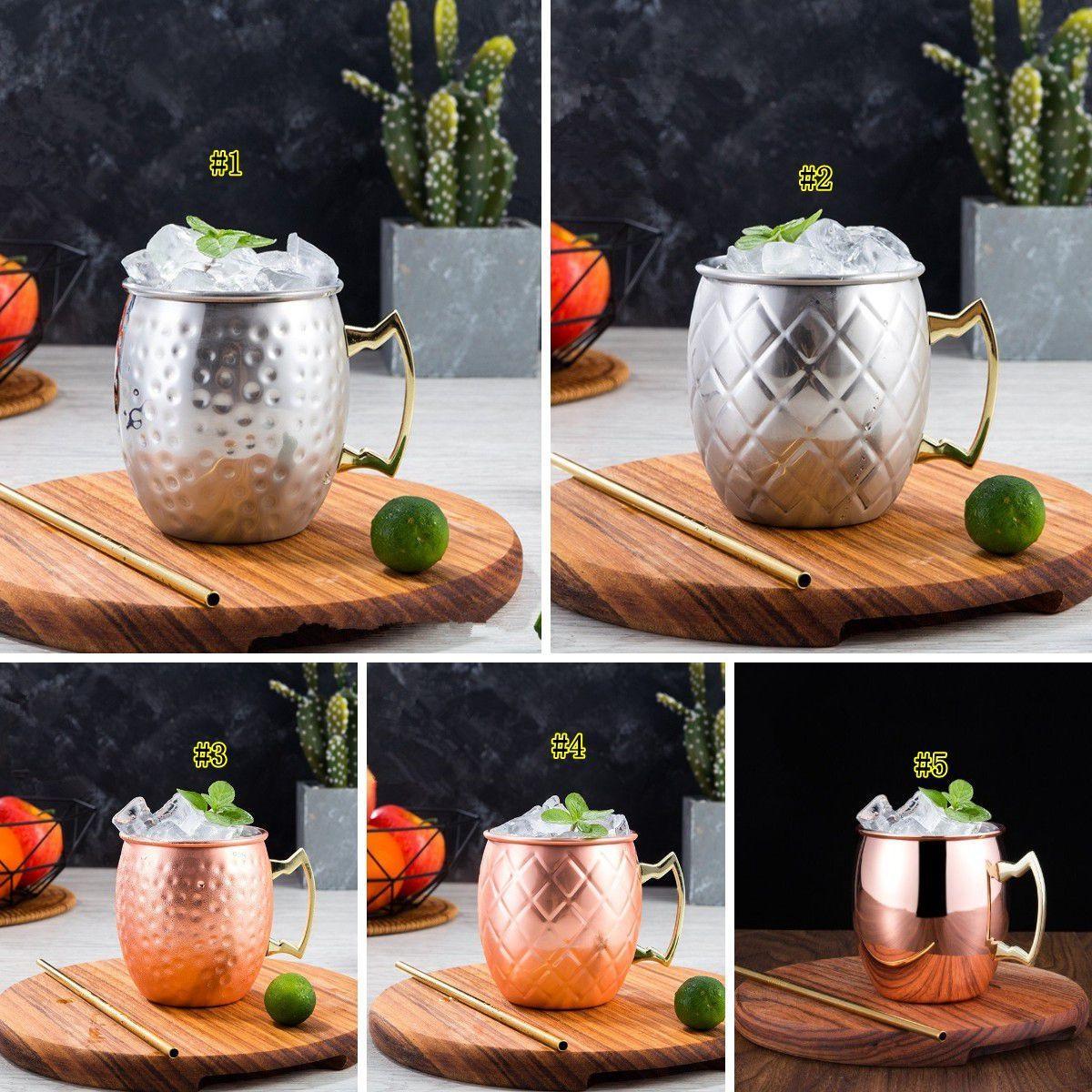 Hammered Verkupfertes Edelstahl Moscow Mule Tasse Trommel-Beer Cup Coffe Cup Wasserglas Trinkgefäße AHC1045