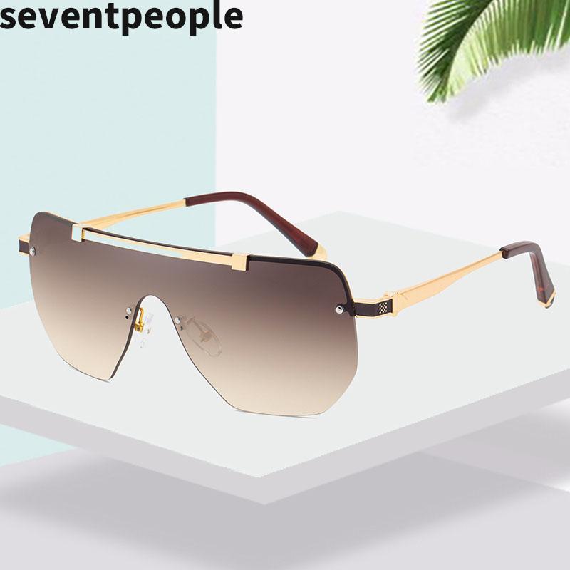 De gran tamaño semi-sin montura de gafas de sol de moda de los hombres cuadrados de una sola pieza del gradiente de gafas de sol de la vendimia Flat Top Gafas de sol