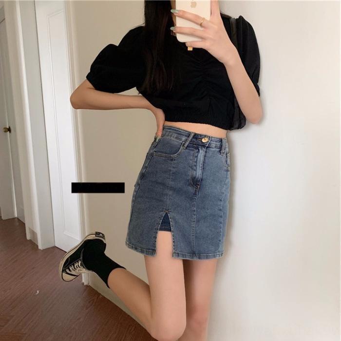 N9kFp haut Shorts et courte qualité jupe courte nouveau côté mode de vêtements pour femmes coréennes minceur sexy short denim fendu couvert hip-jupe