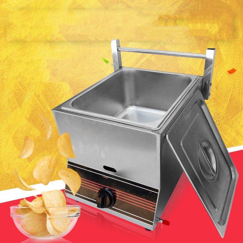 2020 Comercial de gas de dos cilindros Fries freidora Sartén franceses Máquina pollo frito Horno Equipo para freír alimentos Procesador Herramientas