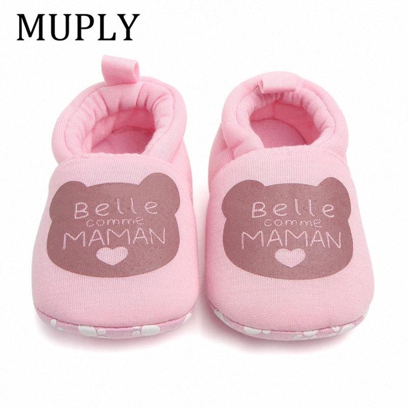 Adorável Cotton bebê recém-nascido sapatos bonitos infantil do bebê Meninas Calçados Meninos Primeira Walkers PAPA MAMAN macias criança berço para 0-18M zI0Y #