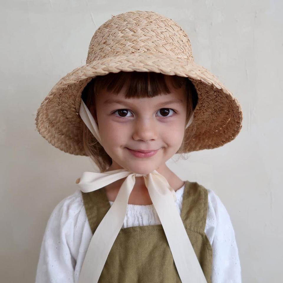 El yapımı Rafya Hasır Şapka İçin Çocuk Retro Daire Top Down Brim Çocuk hasır şapka Erkekler Kızlar Seyahat Tatil Rafya Güneş Şapkası katlayın
