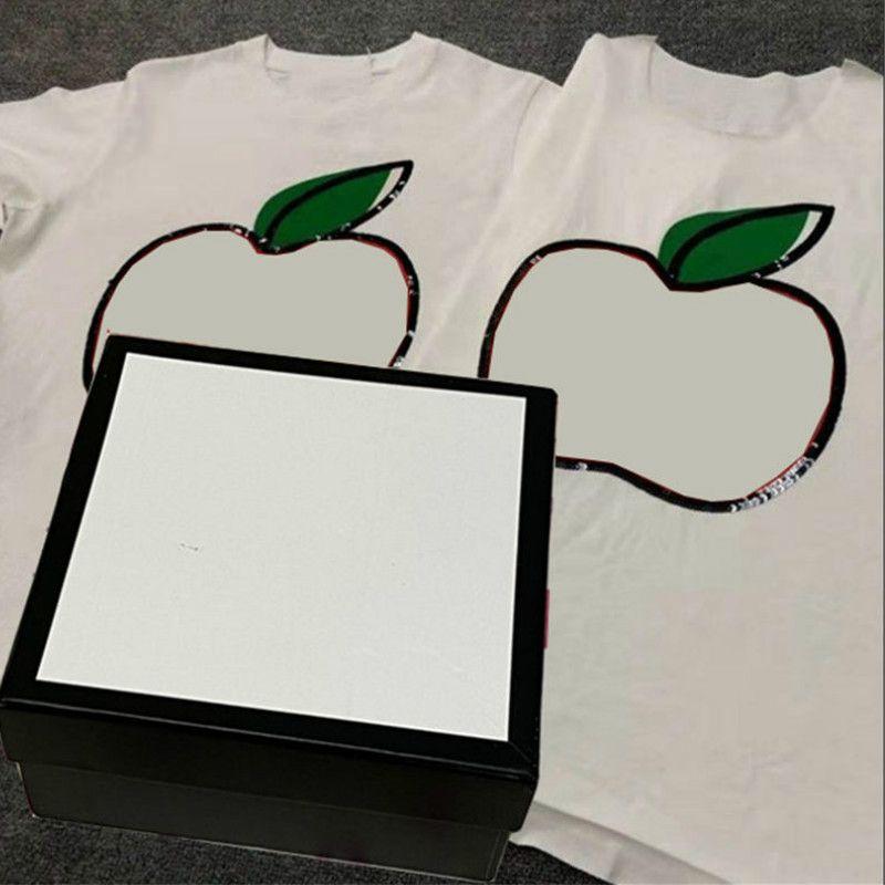 Guxxi hommes T-shirt Casual manches courtes d'été rouge Apple Print Paillettes T-shirt unisexe 2020 Mode Haute Qualité Vêtements