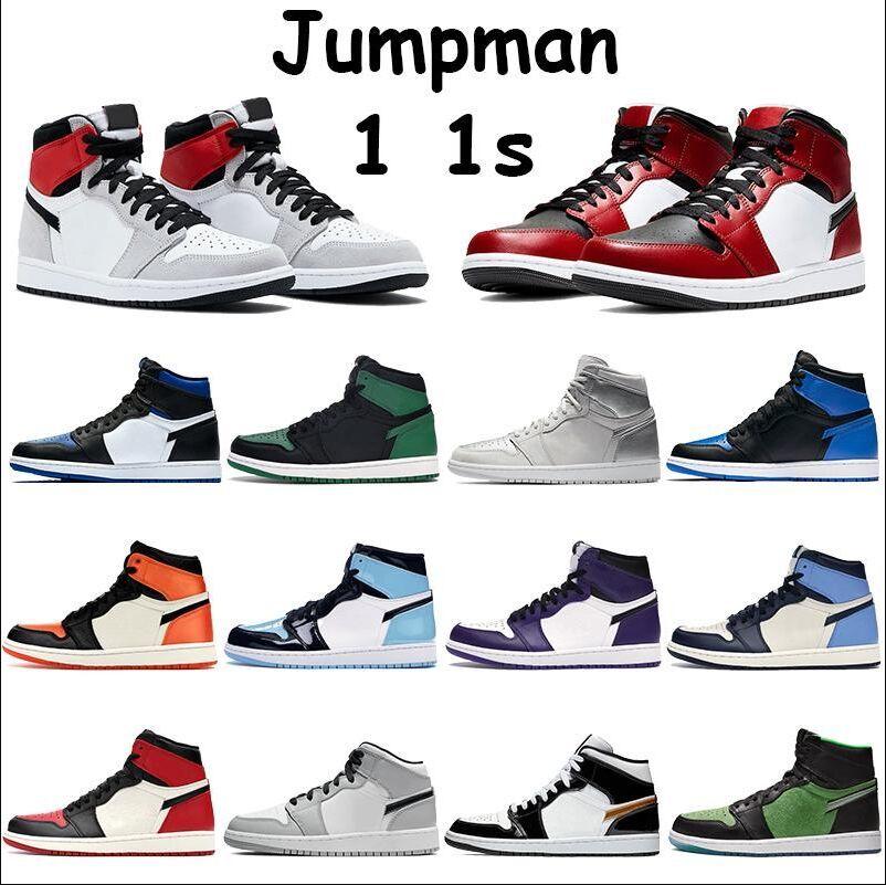 Nike Air Max Retro Jordan Shoes 2020 أحذية جديدة لكرة السلة Jumpman 1 1S ولدت أسود ملكي شيكاغو تو المحكمة بيربل الأبيض المتوسط الخفيفة دخان رمادي شاحب العاج Chaussures Traine