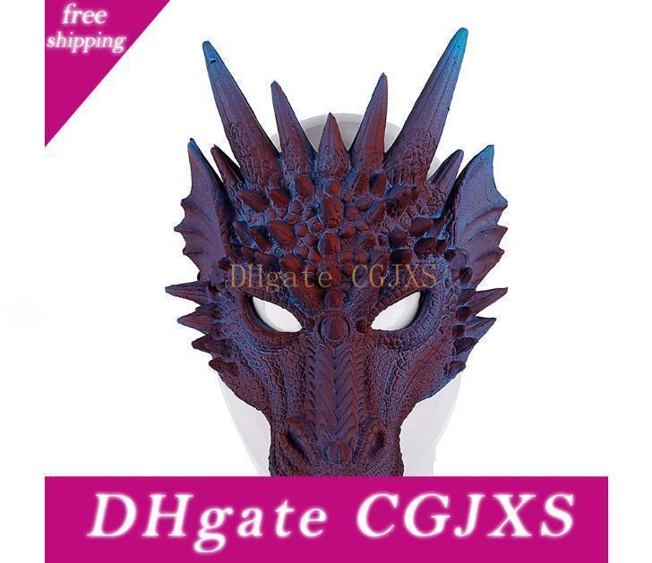 Halloween Carnaval Party Pu Matériau mousse Faire des animaux 3D dragon Masque de soutien mixte lot Festive