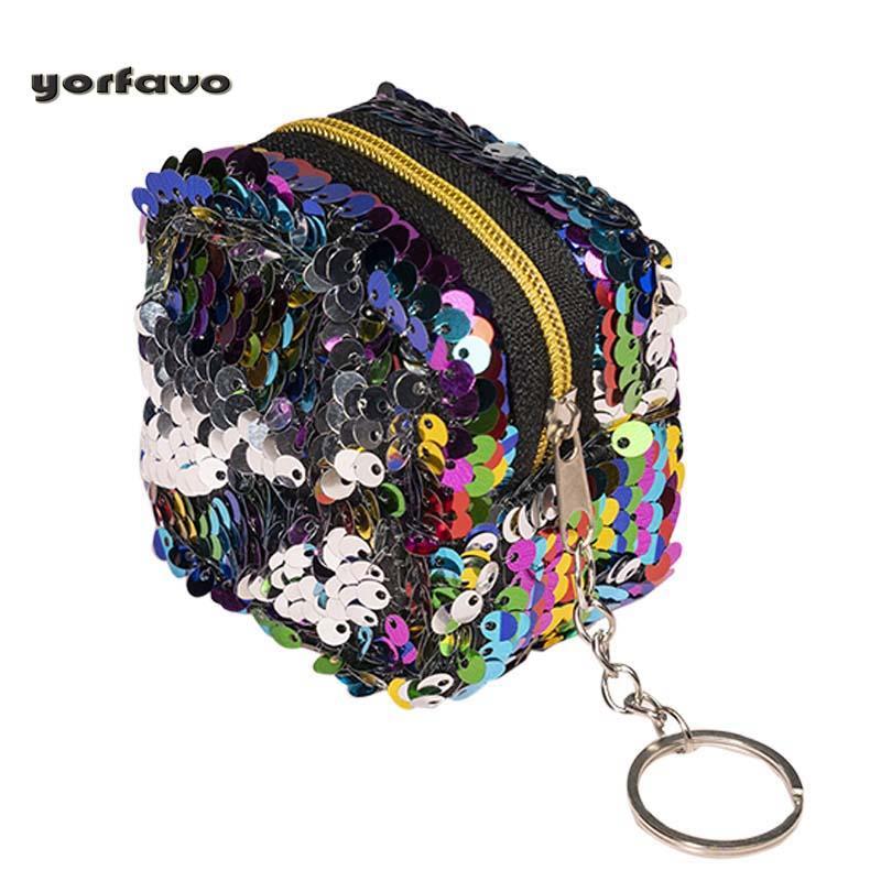 Portefeuille de mode stéréo double couleur Nouveaux paillettes Porte-monnaie Mini Small Storage Unisexe Circulaire Femme Ewkbw
