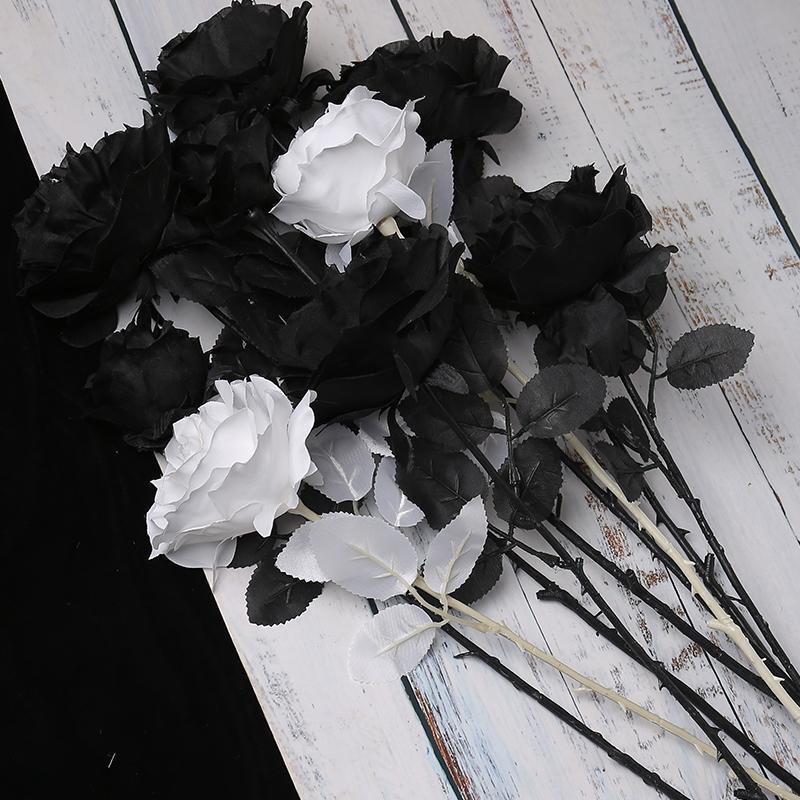 Nordic Art Simulation Noir Bouquet Rose Leaf argent Décoration moderne Minimaliste Fleur Photo Dried Photographie Set Props