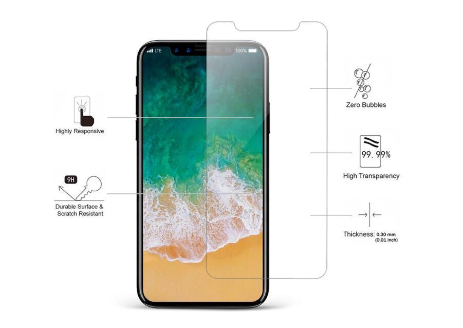 Protection d'écran pour iPhone 12 11 Pro Max XS Max XR en verre trempé pour iPhone 7 8 Plus LG STYLO 6 Film de protection 0.33mm avec Paper Box