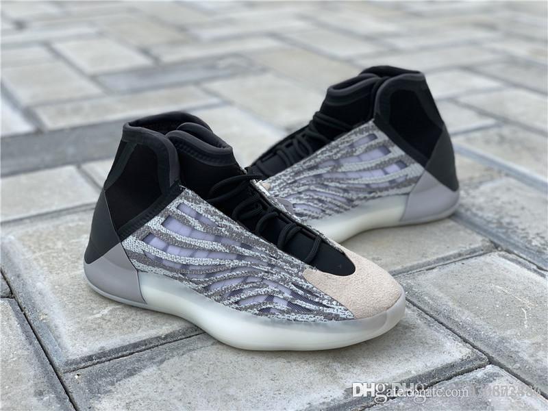 Yeni Satış Otantik Kanye West Basketbol Ayakkabı Kuantum 3M Yansıtıcı Süet bindirmeler Erkekler Sneakers Tasarımcı Spor Ayakkabı EG1535 ile Kutusu
