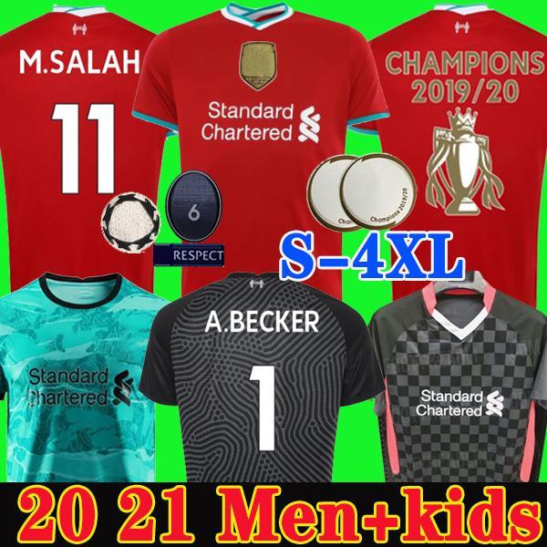 S - 4XL Maillots de football Liverpool soccer jersey 2019 2020 2021 LVP Mohamed M. Salah Maillot de foot 20 21 VIRGIL MANE FIRMINO KEITA MILNER Kit gardien hommes enfants kit