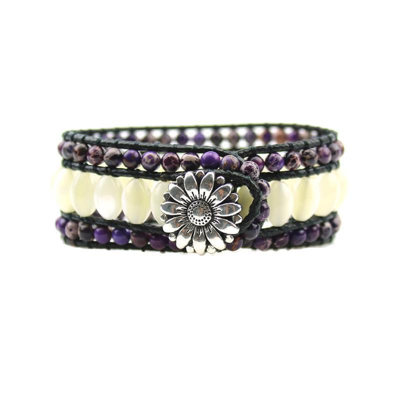 Dropshipping Oval Shell and Natual Emperor Beads Stone Sunflower Button Wrap Statment Wrist Bracelet Jewelry for Gift