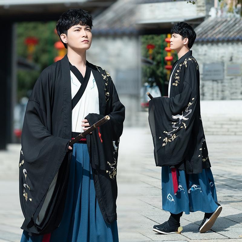 Wide-mangas dos homens grandes de manga de colarinho cruz e primavera casaco estilo Brasão chinês do estudante cp casal terno terno de Mulheres e KpvqB verão
