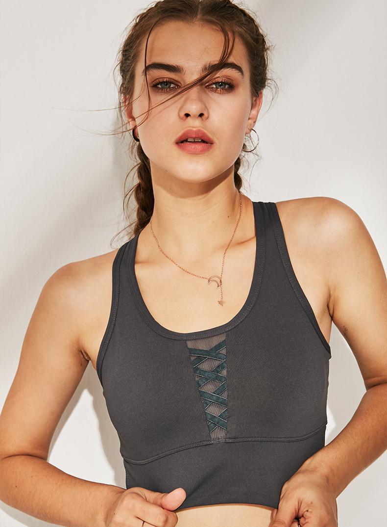 Mulheres esportes sutiã push up acolchoado Correndo Bra aptidão Tanque Vest Top feminina prova agitação ginásio poliéster yoga crossfit Workout bra