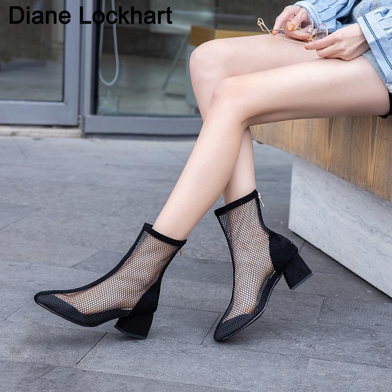dropshipping Moda Mulheres malha sandálias de verão tornozelo botas céu aberto sapatos respirável Tulle Curto Botas Mujer Tamanho Grande