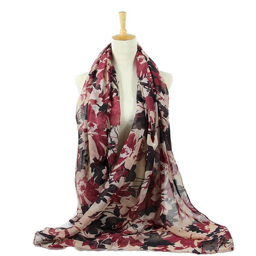 2020 Otoño Invierno Retro Pintura Floral viscosa bufanda del mantón de impresión largo abrigo caliente de la estola de Pashmina de las mujeres poncho musulmán Hijab redecilla T200827