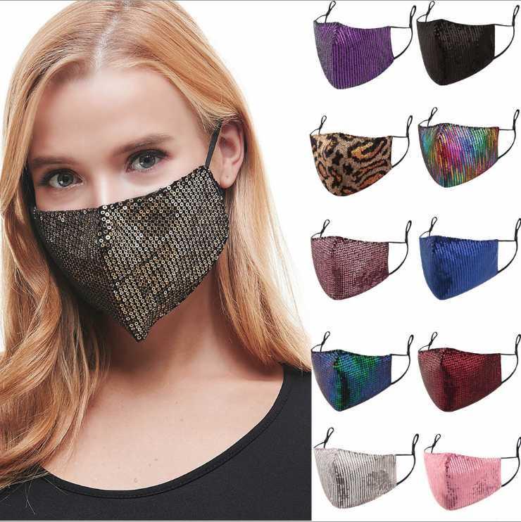 3D блестки Bling маска моющийся многоразовый РМ2,5 маска анти туман Щит ВС Цвет Золото Elbow Face Cover Анти пыли Рот маска корабль падения