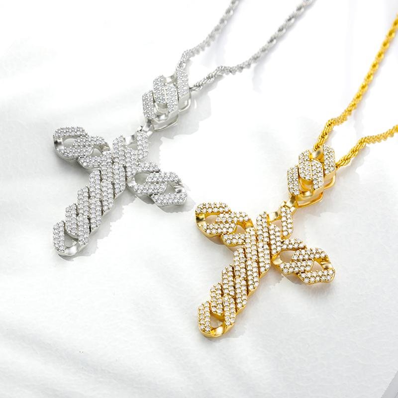 Iced Out Cross Pendant Choker Necklace For Men Women Gold Color Zircon Jesus Twist Long Chain Male Necklaces HipHop Punk Jewelry