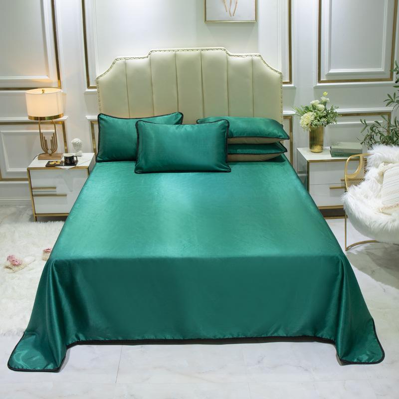 3шт / набор набор кровати листа (плоский лист + наволочка) вискозное волокно прохладного лето постельного белье одежды для двойной королевы Домашнего текстиля