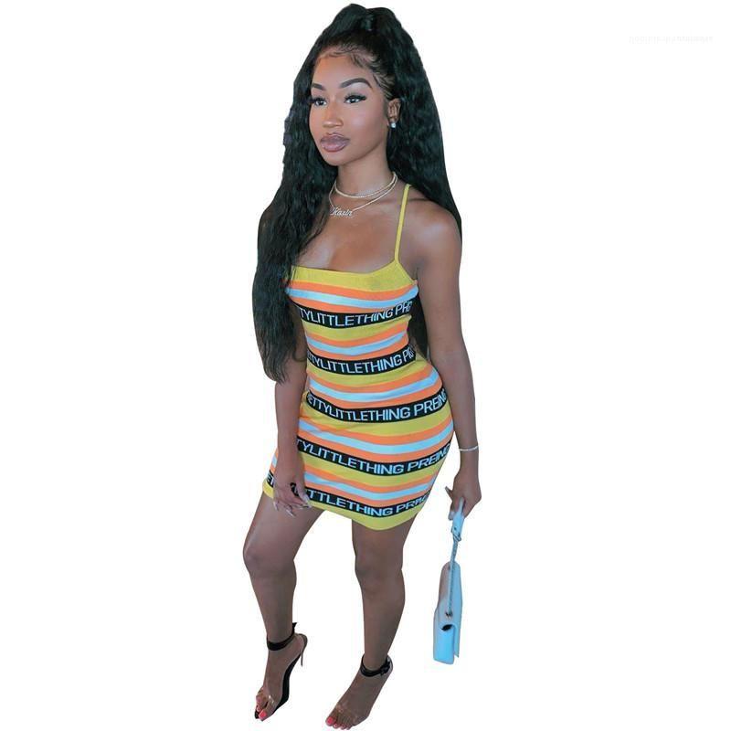 Giyim Moda Kadın Kulübü Streetwear Mini Elbise Kadınlar dizayn edilmiş elbiseler Patchwork Kolsuz Seksi Spagetti Askı yazdır