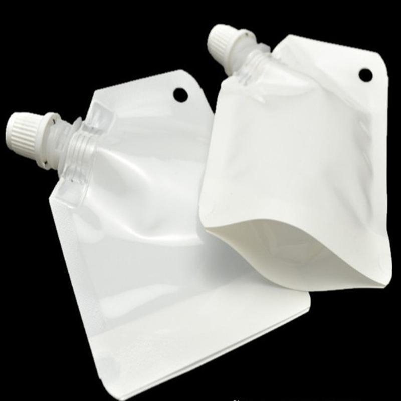 100шт / серия 50ml Встаньте Питьевой сумки пакета Прозрачные сумки Рвых сумка белый серебряный мешочек для напитков молока