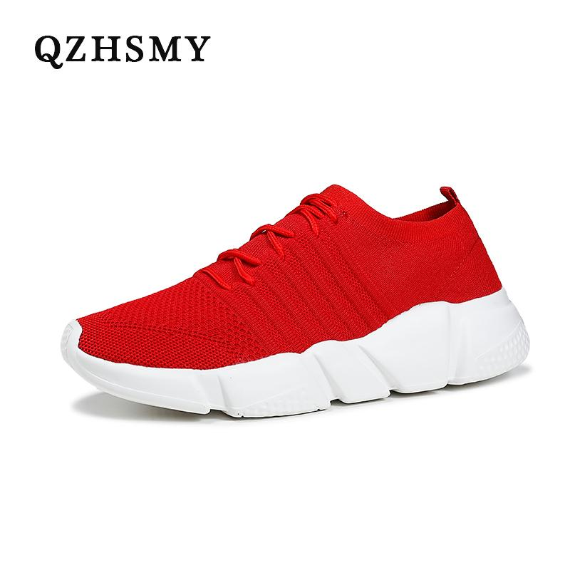 Mid-cut Socks Shoes Red Mesh Breathable Casual Men Shoes Lace-Up White Sneakers Tennis Adult Zapatillas Hombre Big Size 39-48