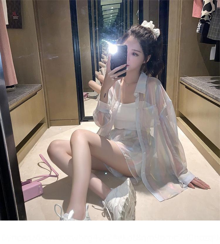 anrG6 Verão 2020 S7OIs nova camisa shorts soltos sereia Ji-coreano de duas peças de estilo Shorts terno Roupa camisa roupas de estilo deusa terno elegante