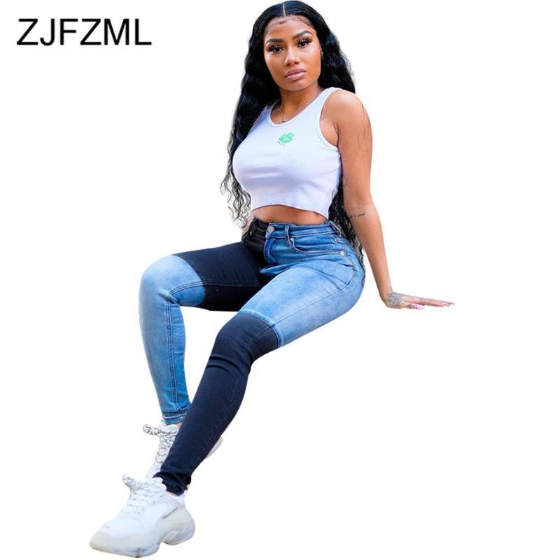 Farbblock Spliced Lässige Denim lange Hose Art und Weise mit hoher Taille elastische dünne Bleistift-Hosenstreet Reißverschluss Bodycon Jeans