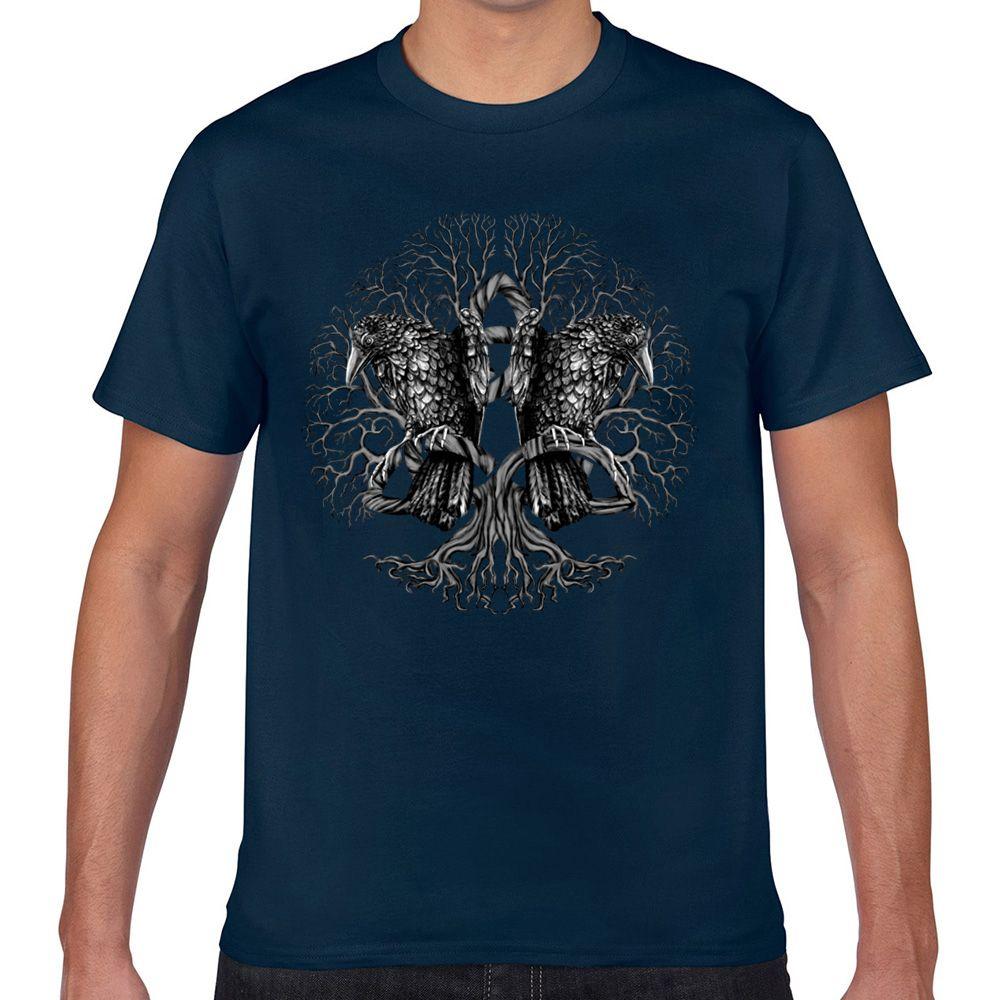 Tops T Shirt Men Tree Of Life Yggdrasil com corvos Casual Preto Curto Masculino Camiseta