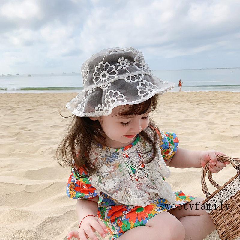 شبكة الرباط هات الأبوة والأمومة نمط زهرة التطريز كلاسيكي شبه الشفافية الطفل قبعة الأم وابنتها نفس نمط كاب
