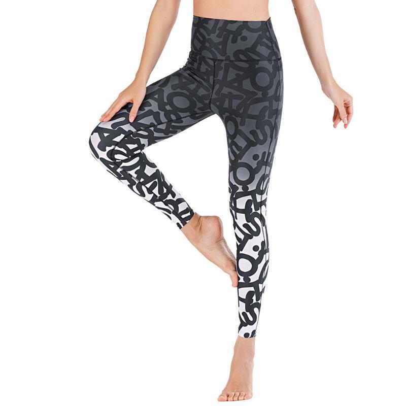# H45 alta Stretchy Yoga PantsLeggings Mulheres Imprimir cintura alta Leggings Push Up Calças Sports Casual Jeggings Gym Leggings
