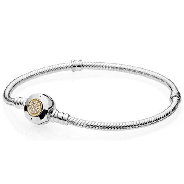 NEW 925 Sterling Silver classic bracelet gold Clear CZ Charm Bead fit DIY The crystal Bracelets Jewelry factory wholesale Seven gift