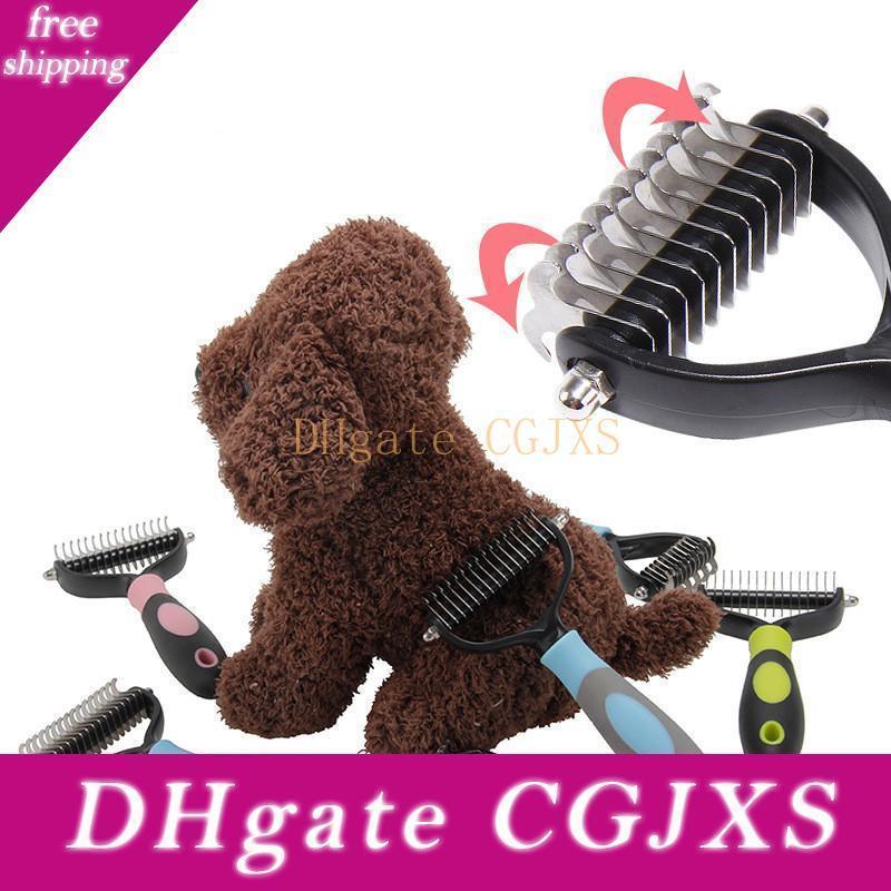Haarentfernung Kamm für Hunde Katzen Pet Grooming Kamm Werkzeug 2-seitig Vorst Rake für Haustiere sicher Dematting Kamm Pet Supplies
