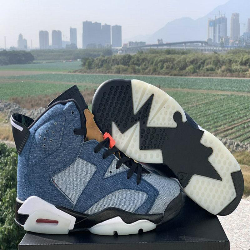 2020 New 6 VI Washed Denim 6s Mens Basketball Shoes Designer Sneakers Trainers Sports des chaussures Zapatos taquets Size 40-47